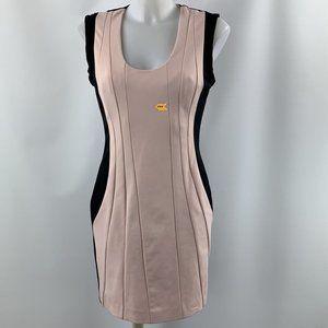 DVF Pink & Black Sleeveless Bodycon Dress Size 8